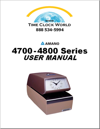 Amano 4700 - 4800 series Mechanical Time Stamp User Manual