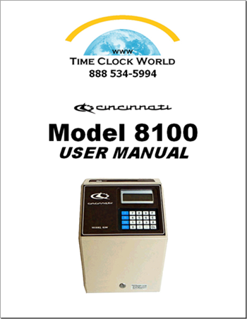 Cincinnati Model 8100 Totalizer Time Clock User Manual
