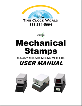 Widmer Mechanical Stamps User Manual Time Clock World